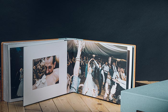 Floema Album - Fine Art Book - Copertina personalizzata in Tela Caribbean Blue - Packaging Flip